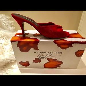 Donald J Pliner Jinny Red Elastic & Suede Heels 8M